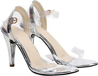 55f2e35769 CORTICA London Women and Girls and Casual Pencil Heel Sandal with  Transparent Upper
