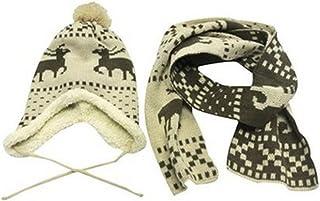 Children's Reindeer Hat and Scarf Set - Beige