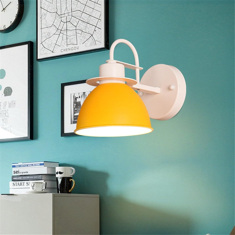 Amadoierly Led-Eisen Wandleuchte Nordic kreative Persnlichkeit Treppenhaus Schlafzimmer Bett Flur Flur Lampe 19X23 cm, gelb