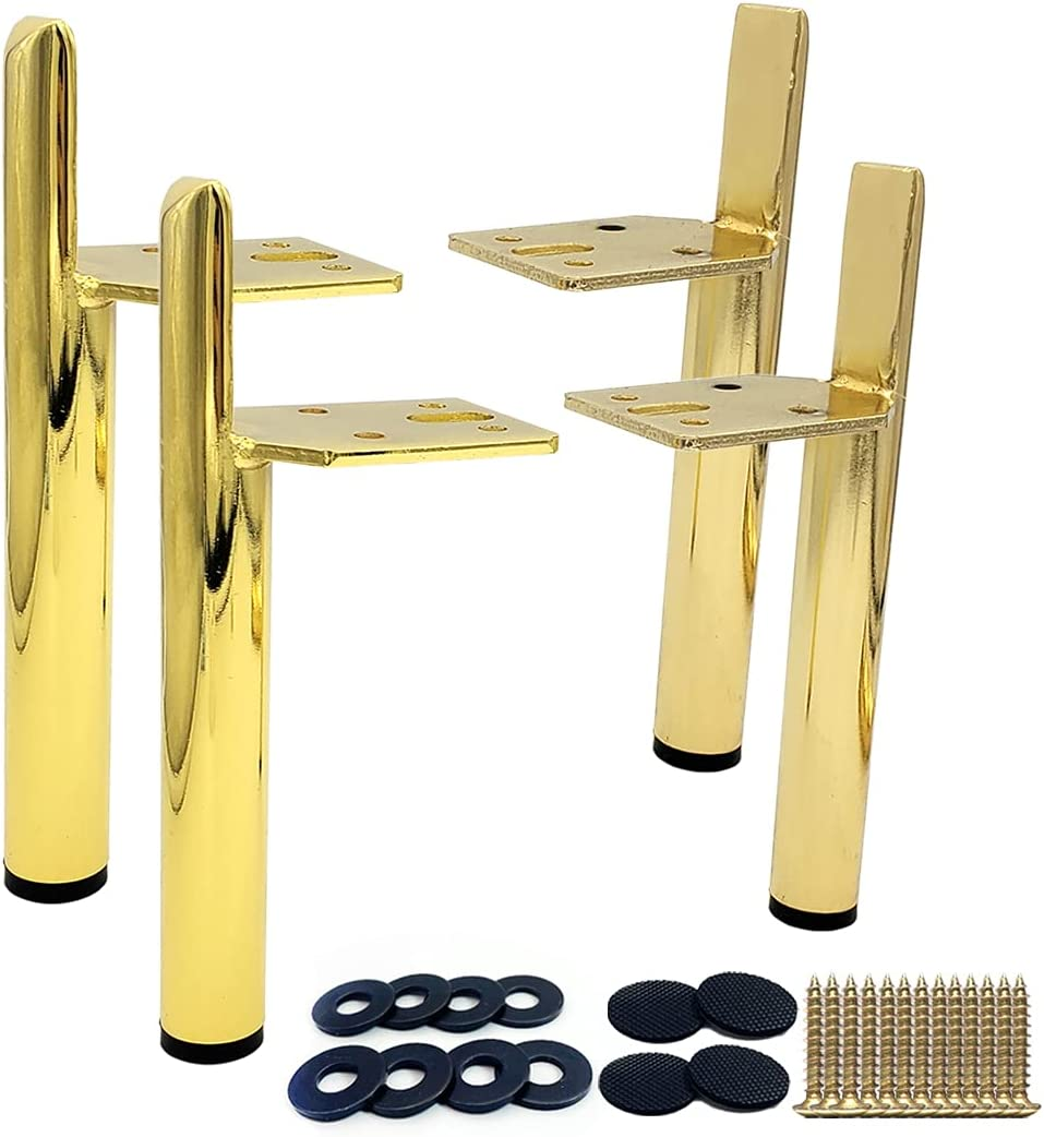 Kaupuar 6 Inch Metal Furniture Legs Golden for Coffee Table Dres