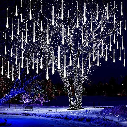LED Meteorschauer Regen Lichter Meteor Lichterkette Außen Wasserdichte Schneefall Lichterketten aus 30cm 8 Tubes Schnur 144 LEDs für Dekoration Garten Hochzeit Weihnachten und Party (Stecker Weiß)