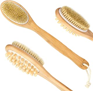 Shower Bath Brush with Long Handle & Dry Skin Body Brushes - 100% Natural Boar Bristles & Wooden Massage Brushing - Perfect for Exfoliating, Blood Circulation, Good for Health and Beauty