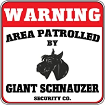 "Warning Area Patrolled Giant Schnauzer Dog Security Crossing Metal Novelty Sign 12""X12"""