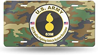 NCJEI NONGE Army MOS 63M M2-3 Bradley Fighting Vehicle System Maintainer License Plate License Frame Custom Metal License Plate for Car Decoration 6 Inch X 12 Inch