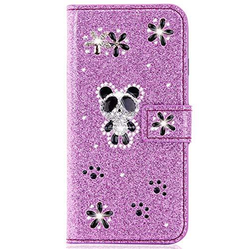 Miagon für Huawei P30 Lite Glitzer Brieftasche Hülle,3D Diamant PU Leder Case Kartenslots Ständer Strass Wallet Flip Cover,Panda Lila