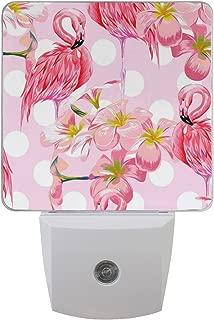 ALAZA 2 Pack Beautiful Flamingo Bird Polka Dot LED Night Light Dusk to Dawn Sensor Plug in Night Home Decor Desk Lamp for Adult