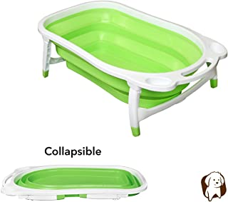 BaileyBear Porta Tubby Collapsible Portable Foldable Dog Cat Bath Tub, Expandable Grooming Washing Supplies Accessory for Small Medium Pets, 31.5 Inches x 17.3 Inches x 8.7 Inches