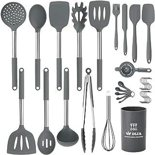 Silicone Cooking Utensils Set, Kitchen Utensils 31pcs Cooking Utensils Set, Heat Resistant Non-stick Silicone Kitchen Spat...