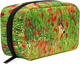 Portable Organizer Makeup bag,Deer Flowers Beautiful Cosmetic Bags Multi Compartment Travel Pouch Storage for Women