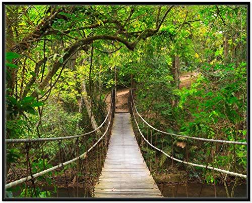 Wallario Wandbild Hängebrücke im Urwald grüner Dschungel in Premiumqualität mit schwarzem Rahmen, Größe: 40 x 50 cm