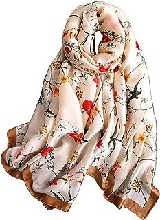 Alice Women Fashion Floral Print Silky Satin Scarf Large Shawl Head Wrap