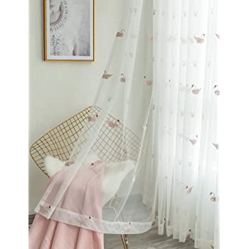 Amazon De Lactraum Vorhang Kinderzimmer Madchen Prinzessin Transparent Weiss Mit Osen Bestickt Schwan