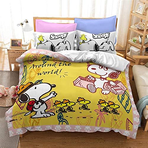 QWAS Snoopy – Juego de ropa de cama infantil 3D, funda nórdica de alta calidad, sin relleno, sin funda nórdica, regalo para niños (V01,135 x 200 cm + 80 x 80 cm x 2)