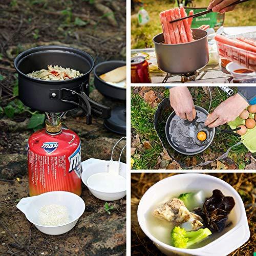 Keymao Camping Kit de Utensilios Cocina Camping Olla Sartén Tetera Vajilla para Acampada Senderismo Excursión al Aire Llibre de Aluminio