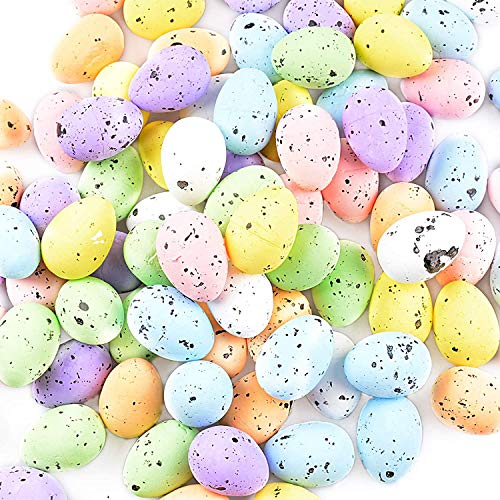 Easter Decorations, BESLIME 100pcs Color Plastic Easter Eggs Hanging Ornament Set, Easter Hunt Gifts,Color Plastic Eggs for Kids DIY Painting Crafts, 3cm (Color mixing)