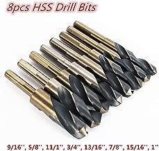 HYYKJ 8pcs Cobalt Drill Bit Set HSS High Speed Steel Metric Twist Drill Bits Silver and Deming Tool Kit for Steel Metal Cutting Drilling (9/16'', 5/8'', 11/1'', 3/4'', 13/16'', 7/8'', 15/16'', 1'')