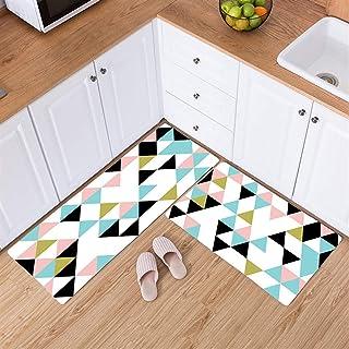 Ommda Dywan kuchenny z wzorem geometrycznym 3D, nadaje się do prania, chłonny, miękki, do korytarza, sypialni, kuchni, nar...