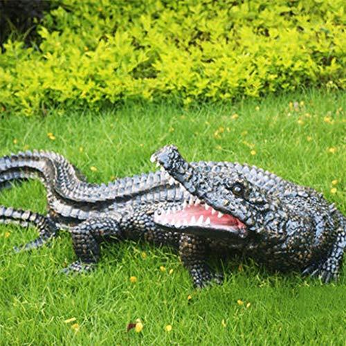 Esculturas estatuas de jardín Estatua De Cocodrilo Simulado En Un Estanque De Peces Escultura Animal FRP Al Aire Libre Jardín Paisaje Decoraciones De Jardín ( Color : Crocodile , Size : 85*35*30cm )