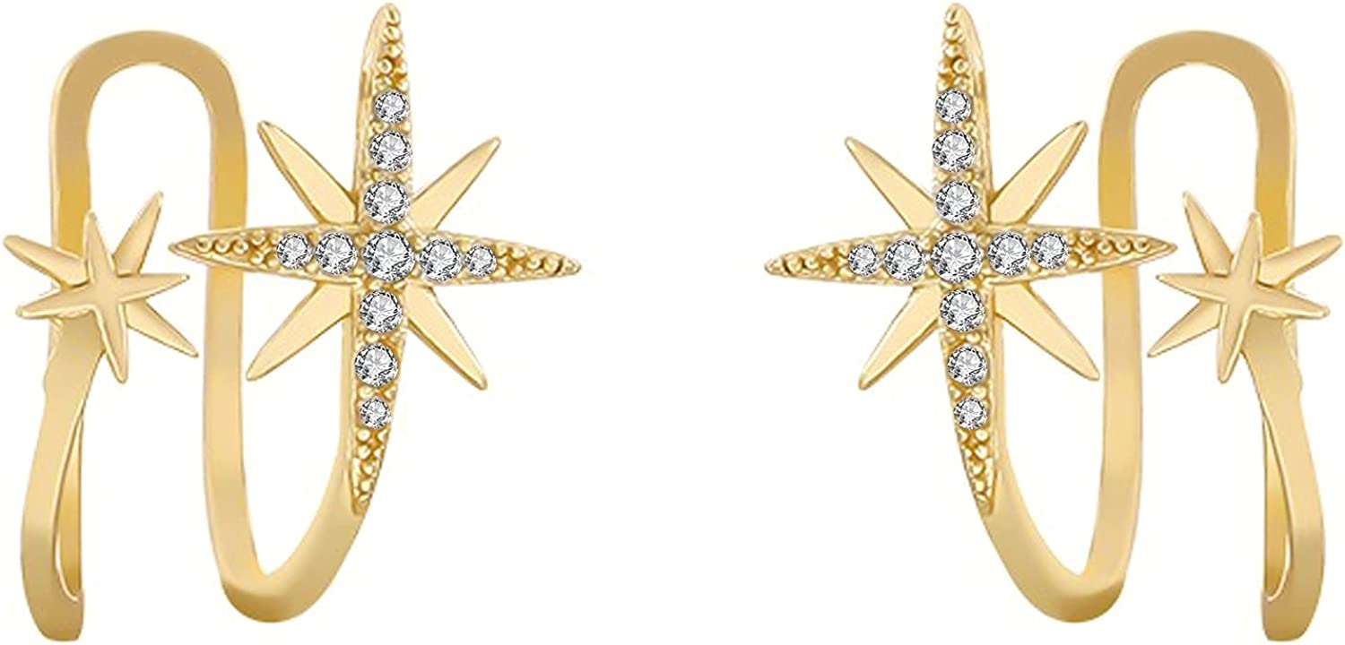 Star Clip On Earrings Cartilage Cuff Wraps Gold Plated Earrings Sparkling Cubic Zirconia Cute Jewelry for Women Girls