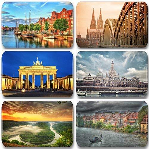Merchandise for Fans Deutschland/Germany Sehenswürdigkeiten - 6 rechteckige Kühlschrankmagnete 7X 4,5 cm - 03 für Memoboard Pinnwand Magnettafel Whiteboard