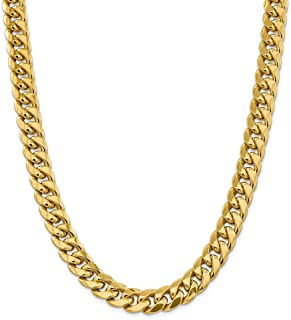 Diamond2Deal Men's 14k Yellow Gold 12.6mm Semi Solid Cuban Chain Necklace 24inch
