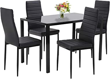 Dining Table Set Dining Room Table Set 5-Piece Kitchen Dining Table Set with 4 Faux Leather Metal Frame Chairs Rectangular Mo