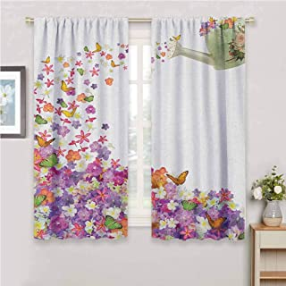 GUUVOR Floral Premium Blackout Curtains Butterflies Narcissus Flowers Violets and Pansies Pouring Out from Old Watering Can Kindergarten Noise Reduction Curtains W63 x L72 Inch Multicolor