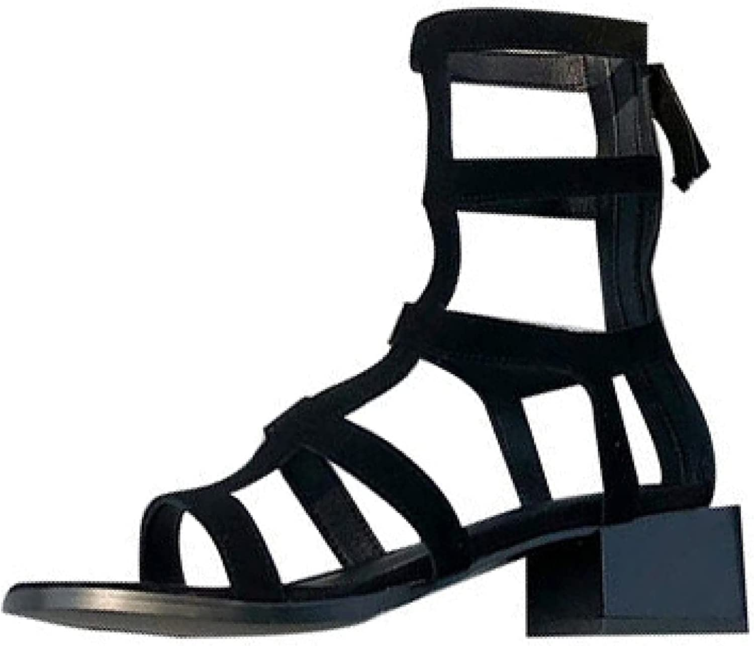 Summer Woman Stylish Outdoor Shoes, Ladies Cutout Roman Style Comfy Chunky Heels Gladiator High Tops Sandal