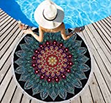 LIVILAN Soft Large Round Microfiber Boho Mandala Beach Towel Blanket, Absorbent Fast Dry Sand Free Picnic Yoga Mat Wall Hanging Table Cloth Hippy Gypsy Wall Decor Tapestry with Tassels,Blank & Blue