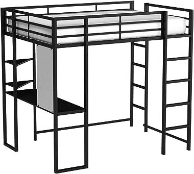 DHP Abode Loft Bed, Full, Black 1 Metal Frame With Desk And Ladder