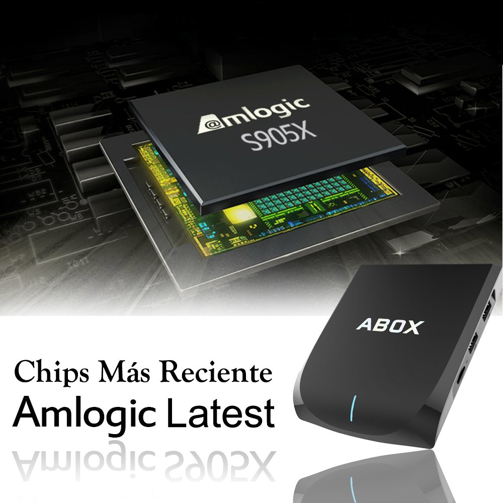 Globmall 2017 Android 6.0 TV Box 2GB/16GB ABOX A2 AmlogicS905X Quad Core 64 Bits CPU Bluetooth 4.0 Dual WiFi Penta-Core GPU con Teclado Qwerty Inalámbrico 4K HDMI 2.0 Smart TV Set Top