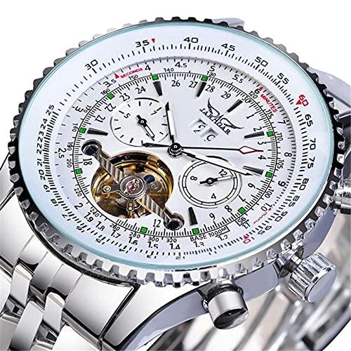 Excellent Reloj mecánico automático para hombre, calendario analógico, casual, acero inoxidable/esfera redonda 3ATM 30 metros resistente al agua, A04