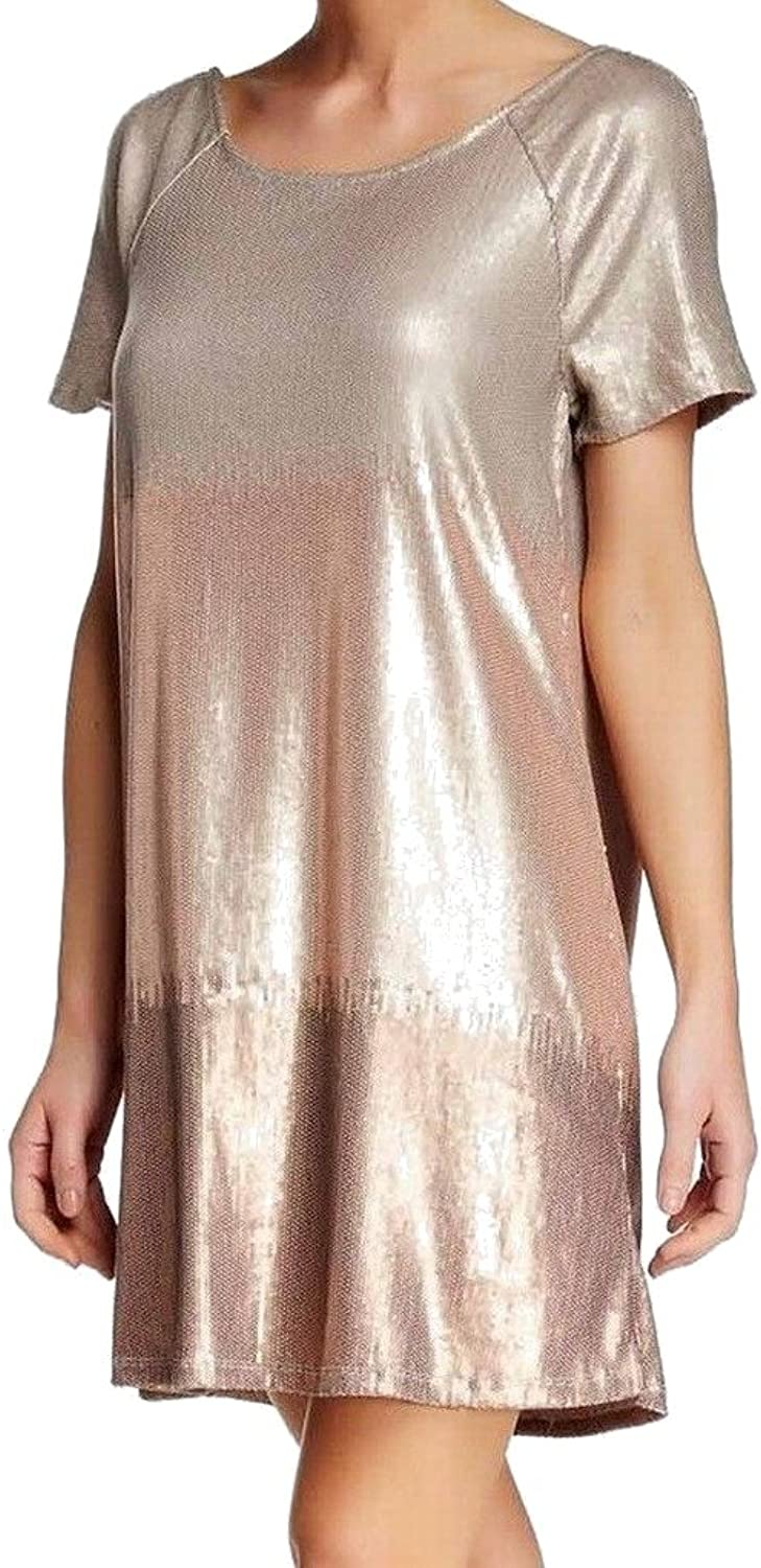 Free People Womens Drenched In Sequins Shift Dress