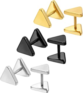 2f4e005a0 Oidea 6pcs 8MM Stainless Steel Piercing Triangle Screw Earring Studs for  Women,Hypoallergenic