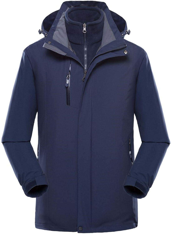 WYTbaby Men's 3-in-1 Jacket Winter Waterproof Ski Jacket Hooded Detachable Fleece Liner
