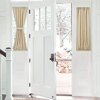 PONY DANCE Beige Sidelight Window Curtains Short Blackout French Door Panel for Sliding Glass Door Window Light Block with Bonus Tieback, 25 x 40-inch, Biscotti Beige, 1 Piece