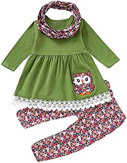 SUPEYA Baby Girls Year Christmas Long Sleeve Dress Tops Romper Outfits 2Pcs Set