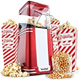 VonShef Retro Popcorn Maker – Vintage Style, Red Electric Popcorn Machine with Hot Air Circulation - for Fat-Free and Healthy Snacking- Perfect for Home Cinema (6 Popcorn Boxes Included)