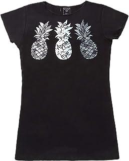(ムームーママ) MuuMuuMama スリムフィット フレンチスリーブ Tシャツ パイナップル柄