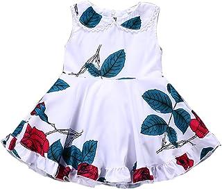 Camidy 2pcs Tolddler Girls Rose Printed Sleeveless Vintage Floral Ruffle Dress Sundress
