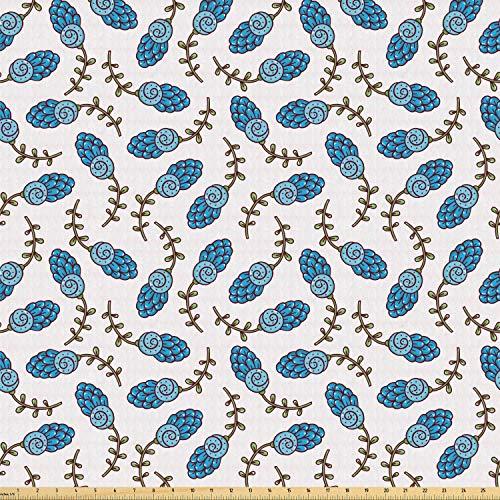 ABAKUHAUS Bloemen Stof per strekkende meter, Rustiek Spring, Stretch Gebreide Stof voor Kleding Naaien en Kunstnijverheid, 2 m, Olive Green Off White