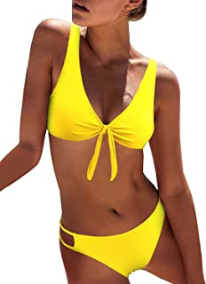 90a7732299 BMJL Women s Sexy Detachable Padded Cutout Push Up Striped Bikini Set Two  Piece Swimsuit