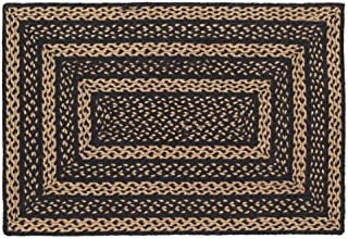Classic Country Primitive Flooring - Farmhouse Jute Black Rug, 2' x 3'