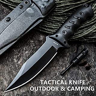 JGN Trading Tactical Fixed Blade Bowie Knife Wilderness Survival Rescue Knives G10 Handle Combat Hunting Knive Outdoor Camping Fighting Tool