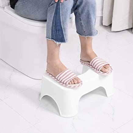 ORPIO (LABEL) Kid's and Adult's Plastic Western Toilet Portable Sturdy Foot Step Squat Stool for Potty Training (White)