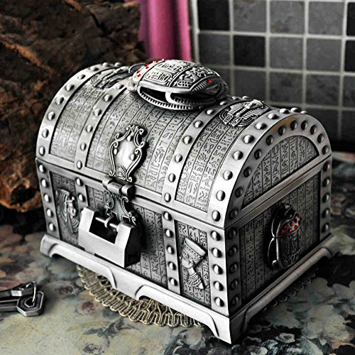 Yubingqin Joyería Retro Estilo Europeo de Corea Princesa Caja de Metal a Mano joyería Caja de Almacenamiento de Anillo de la Doble Capa de Regalo con la Cerradura