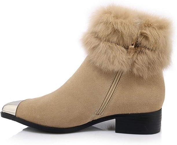 Yanyan Bottes pour Les Les dames Bottes de Neige d'hiver en Cuir Zip Martin Bottes Bottillons de Madame Chaussures à Plateforme antidérapante Chaussures de randonnée
