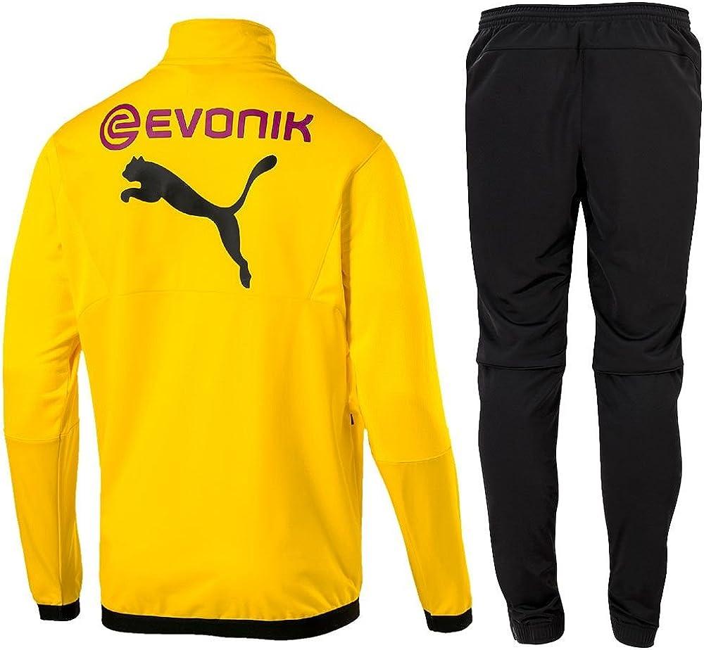 Puma - Tuta da calcio BVB Borussia Dortmund Poly 2018 2019, giacca e pantaloni da uomo, colore giallo e nero