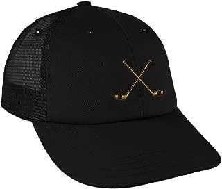 Speedy Pros Hockey Sticks Embroidery Design Low Crown Mesh Golf Snapback Hat Black