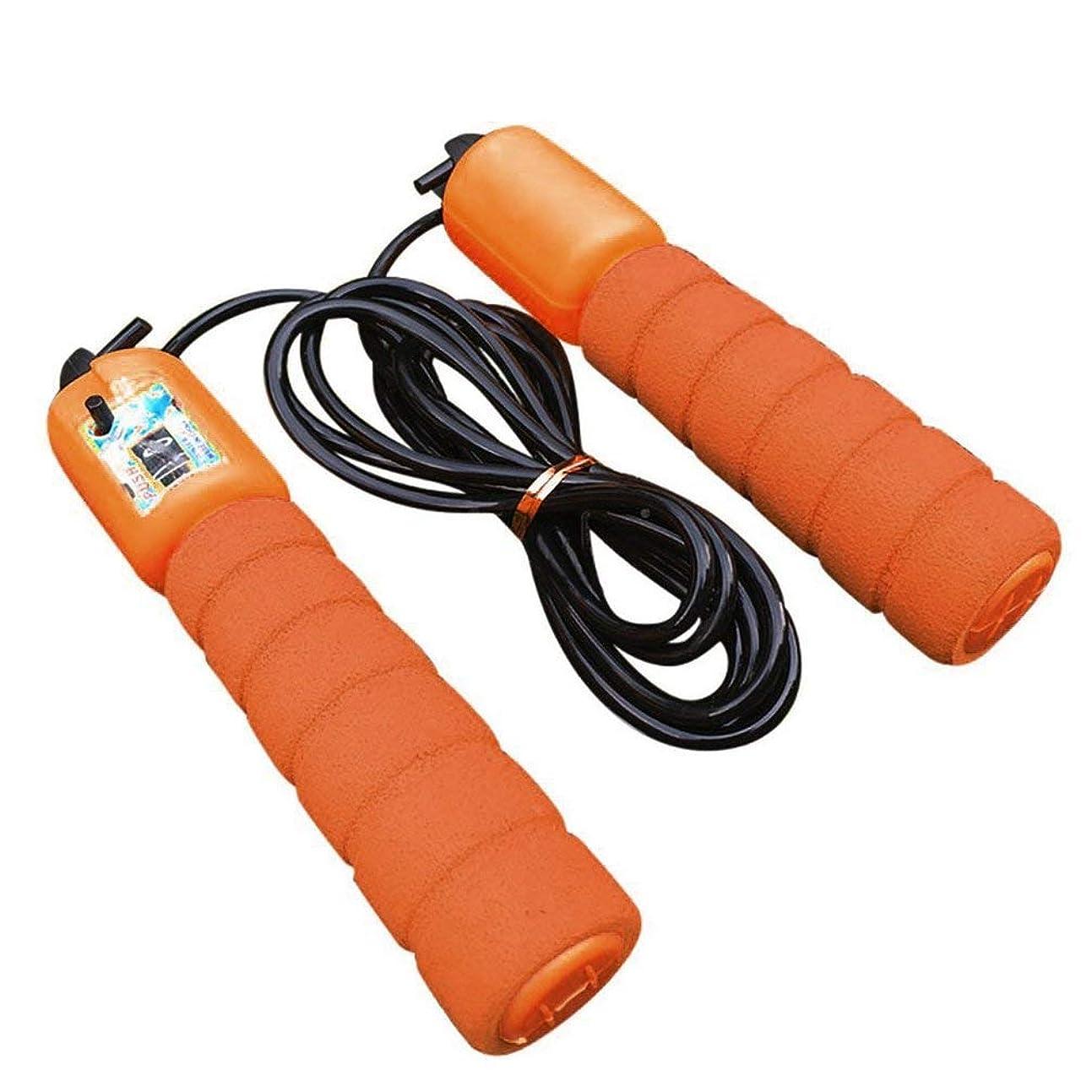 有能な気づくチーフ調整可能なプロフェッショナルカウントスキップロープ自動カウントジャンプロープフィットネスエクササイズ高速スピードカウントジャンプロープ-オレンジ